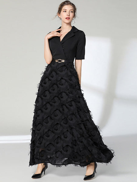 Tailored Collar Feathers Maxi Dress CODE: mon888