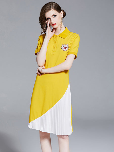 Beads Pig Pleated Shirt A-line Dress CODE: mon893