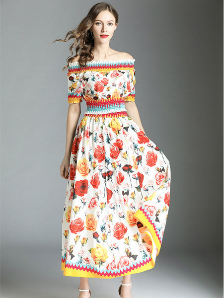 Boat Neck Elastic Waist Flowers Maxi Dress CODE: mon894