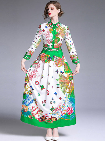 High Waist Flowers Shirt Maxi Dress CODE: mon895