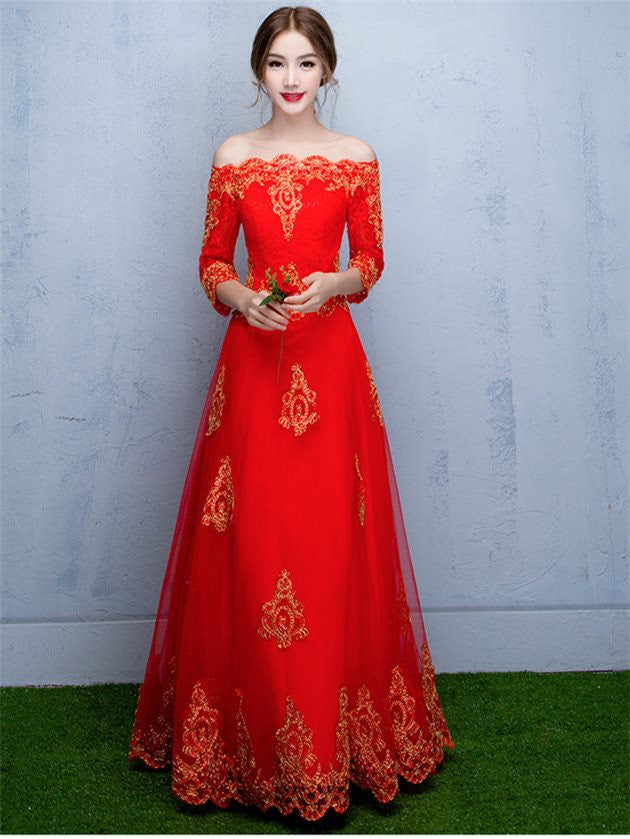 Monrsh Women's Exclusive Wear Red  Gown