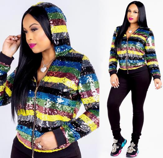 sequined hooded jacket CODE: mon1137