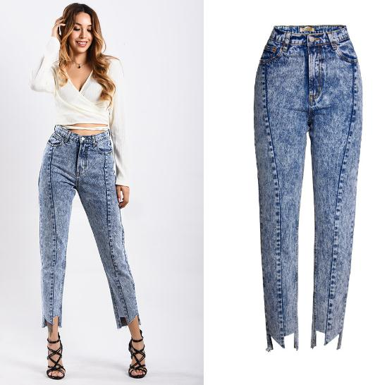 Straight irregular trousers denim CODE: mon1192