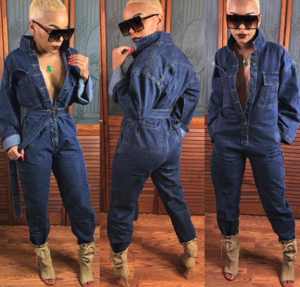 Loose single-breasted denim jumpsuit CODE: mon1195