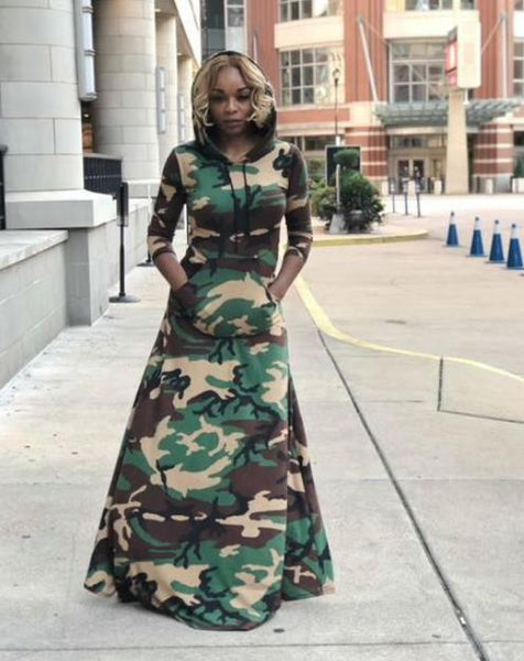 Hooded loose camouflage long dress CODE: mon1219
