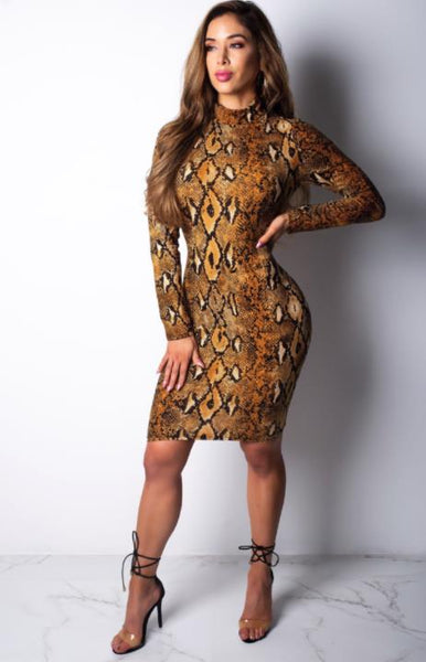 Snake print slim dress CODE: mon1222