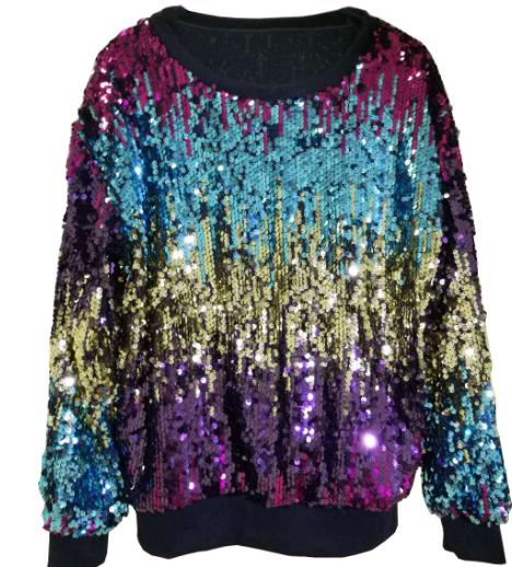 Dazzling segment sequined sweater CODE: mon780