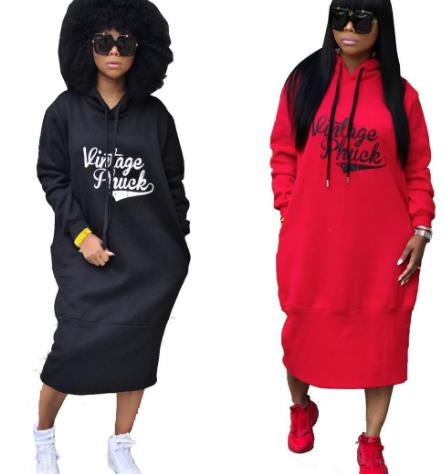 Casual hooded sweater dress CODE: mon782