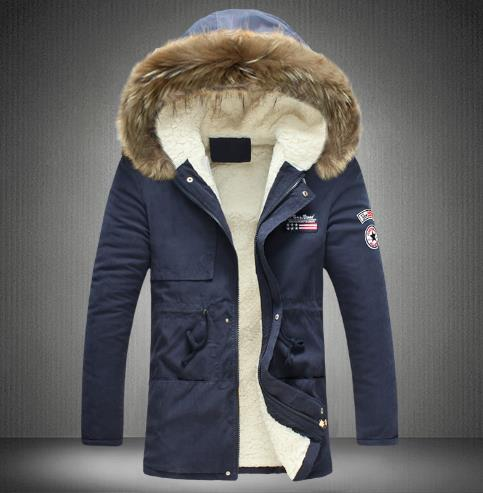 Men's  padded coat hooded fur collar coat CODE: mon793