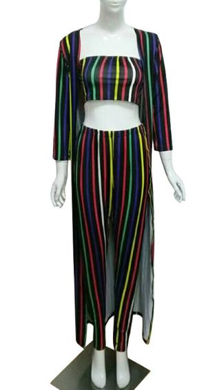 Colorful striped vest trousers coat cloak three-piece Set CODE: mon794