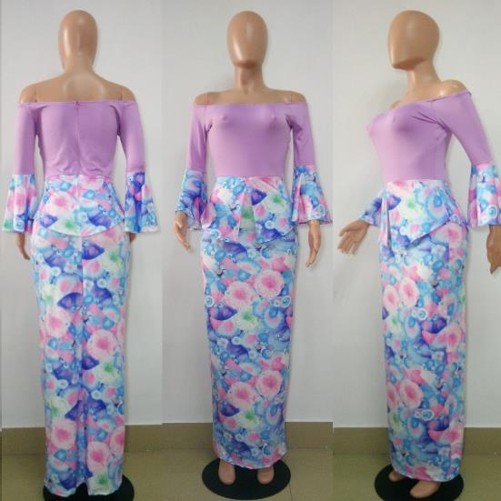 Tube  trumpet sleeve floral print maxi dress CODE: mon806