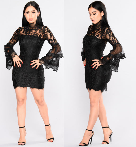 speaker sleeves lace perspective dress CODE: mon812