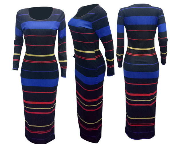 knit striped long-sleeved dress CODE: mon815