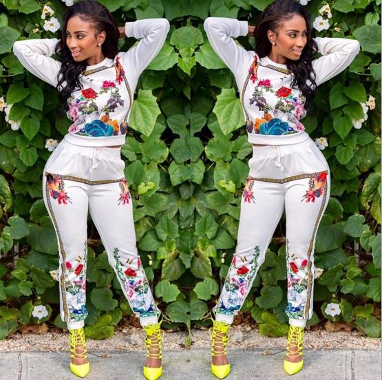 casual print color sports suit set CODE: mon839