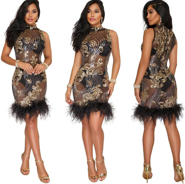 plump side sequins mesh dress CODE: mon866