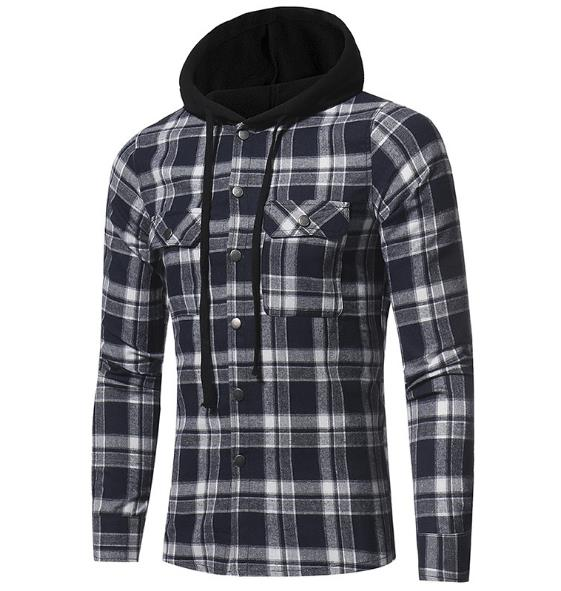 Men's hooded casual long-sleeved shirt CODE: mon891