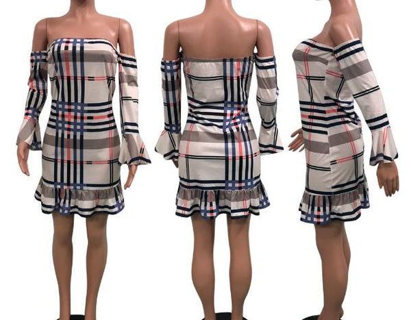 Checks wrapped chest Casual dress CODE: mon893