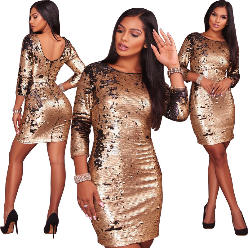 Long Sleeve Sequins Party Dress CODE: mon900