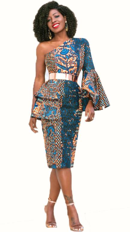 digital print one shoulder oblique dress CODE: mon909