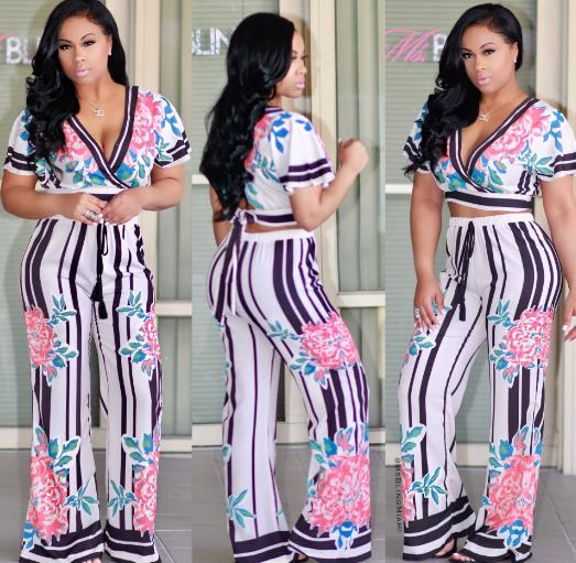 Digital print short-sleeved two-piece suit CODE: mon911