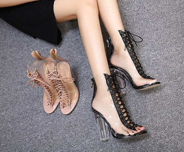 Monrsh Women's Criss Cross Lace Up Heels CODE:MON231