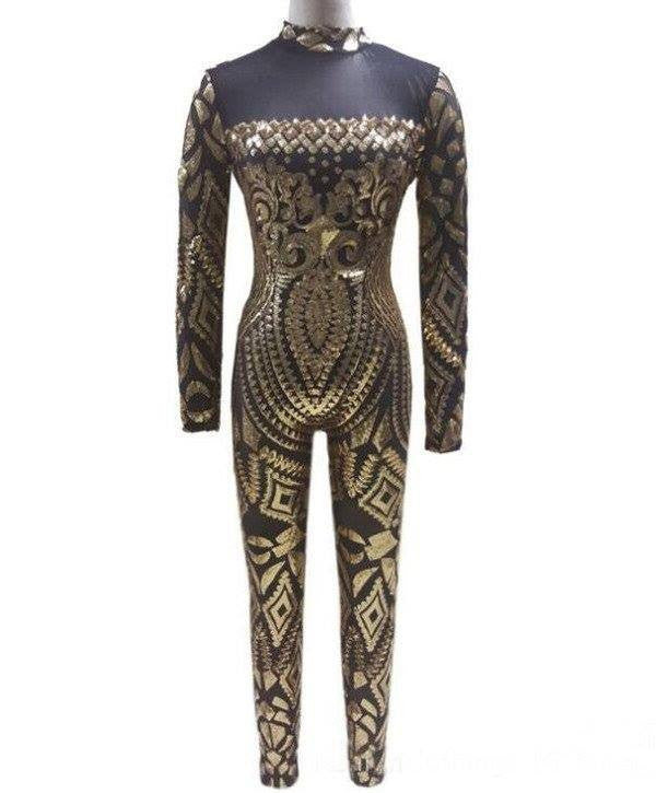 Monrsh Women's Golden Jumpsuit CODE:MON806