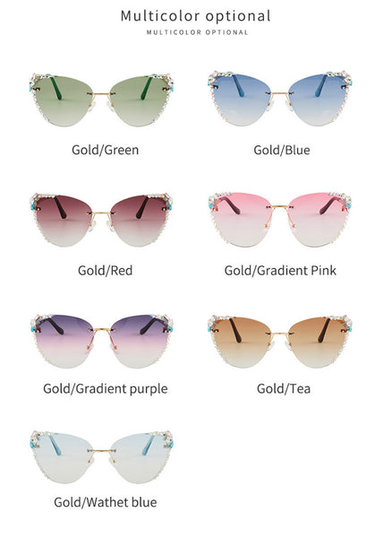 The New Butterfly Retro Rimless Diamond Sunglasses CODE: KAR918