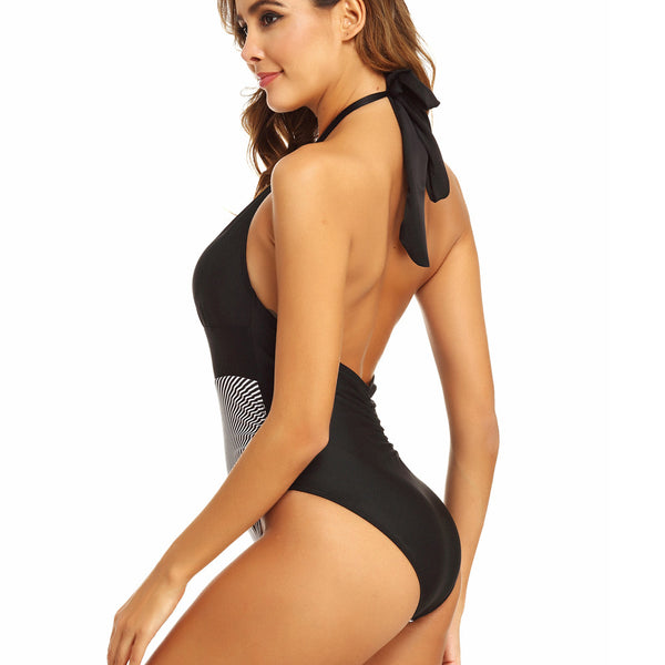 Cut Out One Piece Striped Print Swimsuit CODE: KAR939