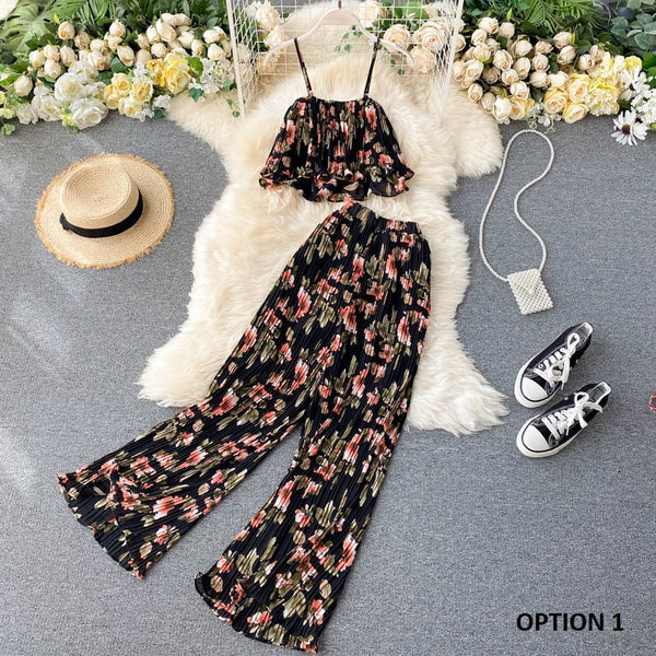 Floral Wide Pants With Spaghetti Crop Top CODE: KAR949