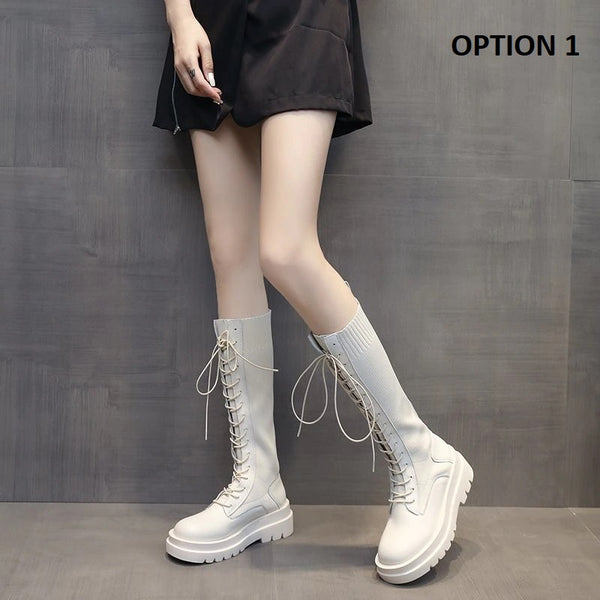 Lace up Mid Calf High Platform Boots CODE: KAR962