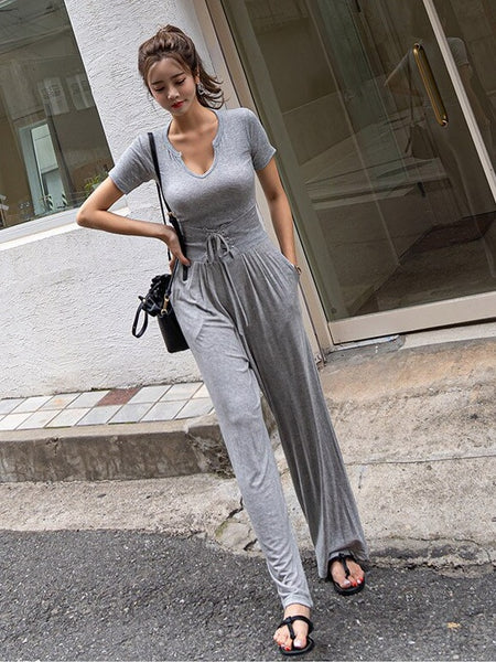 Waist Wide Leg Long Pants Casual Two-piece Sets CODE: KAR285