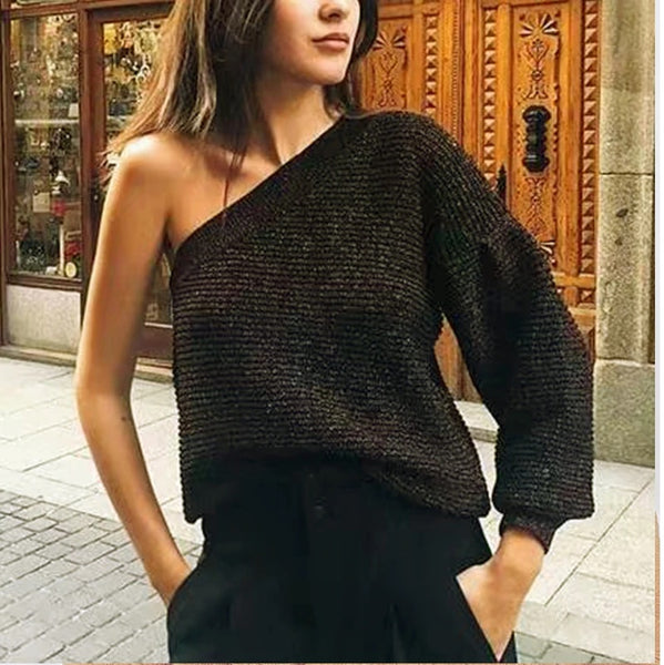 Women Stylish One-Shoulder Sweaters for Womens Winter Golden CODE: KAR359