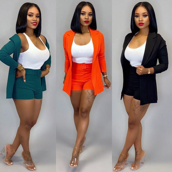 Two Piece Set Solid Color Cardigan Office Lady Set Slim Fit Shorts CODE: KAR435