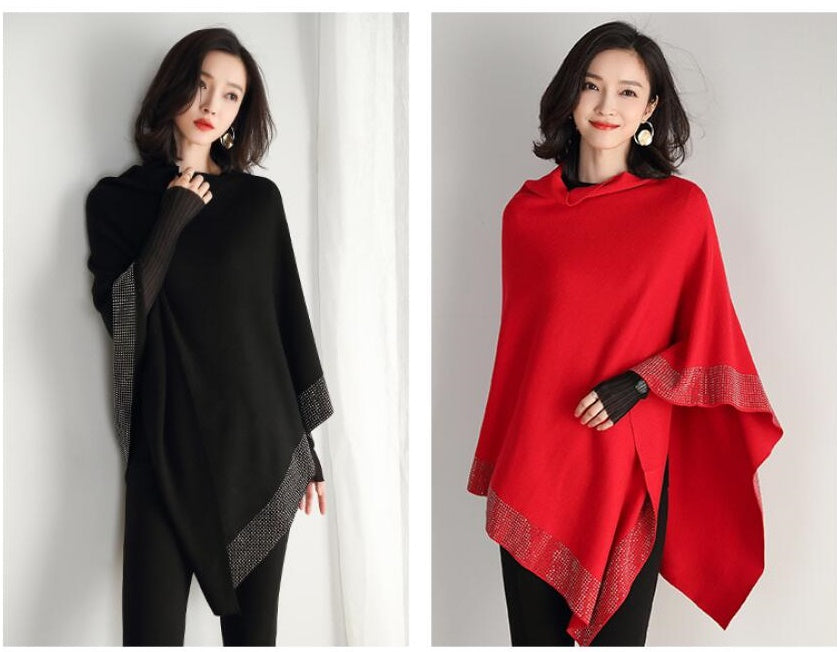 Spring ladies fashion solid color shawl batwing sleeve tops pullovers CODE: KAR450