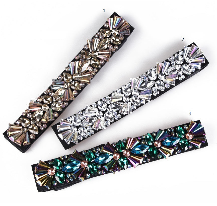 Rhinestone Waist Belt Women Elastic Geometry Crystal Gem Dress Belts CODE: KAR455