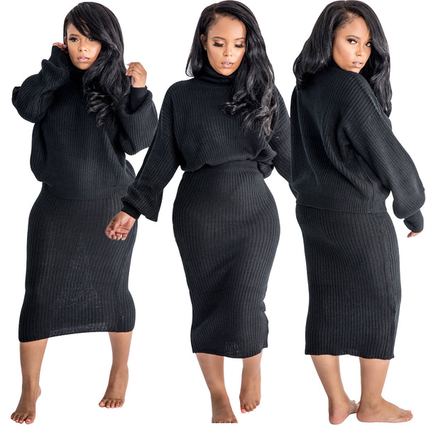 Turtleneck Full Sleeve Top Skirt Suit Two Piece Set Casual Dresses CODE: KAR476