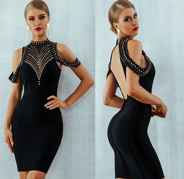 Vestidos Sexy Backless Beading Bodycon Club Dress Celebrity Evening Party Dress CODE: KAR485