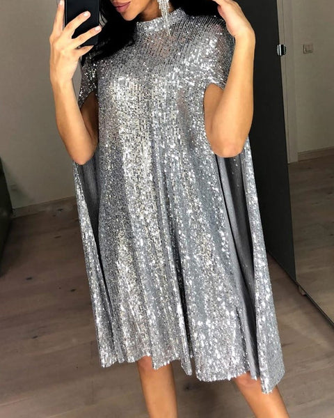 Glitter Mock Neck Cape Design Sequins Dress Women Midi Night Party Club CODE: KAR509
