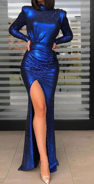 New party dress sequined backless hem split Maxi Dress CODE: KAR547
