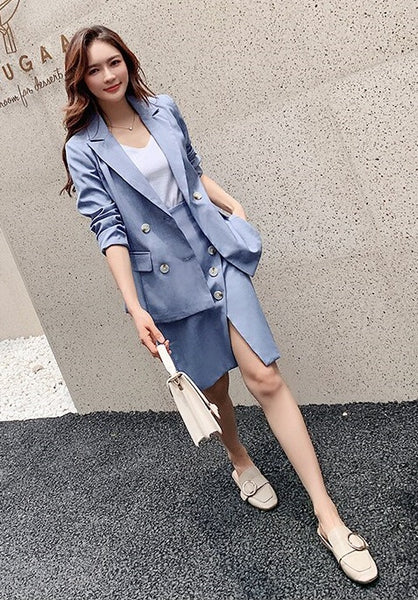 Blazer Jacket Coat+ Button Open Fork Skirt Blazer 2 Piece Set CODE: KAR557