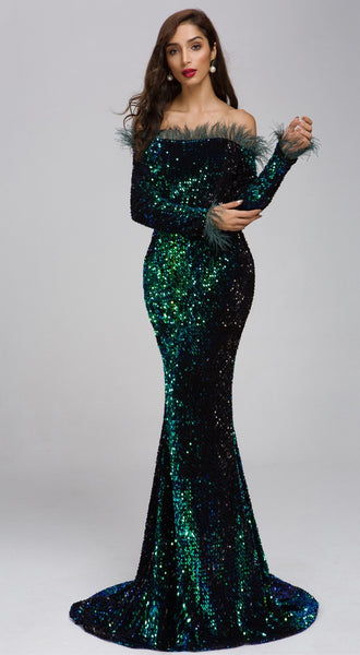 Mermaid Prom Dresses Off The Shoulder Sexy Evening Party Dresses CODE: KAR569