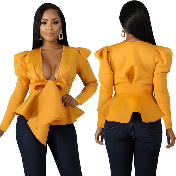 Lady Style Solid Shirts Top Deep V Neck Long Puff Sleeve Fashion Blouses CODE: KAR578