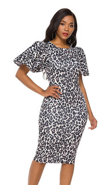 Women's Animal Cheetah Print Sheath Dress Lady CODE: KAR622