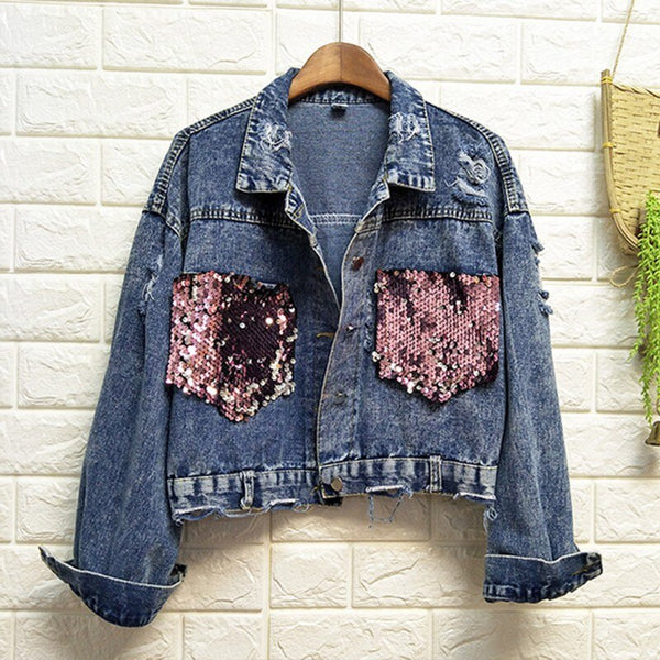 Jacket Loose Casual Short Denim Coat Tops CODE: KAR756