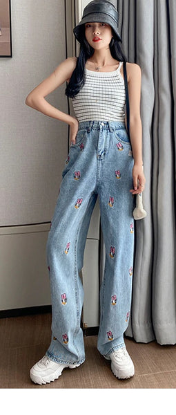 Jeans For Women High Embroidery Cartoon Straight CODE: KAR793