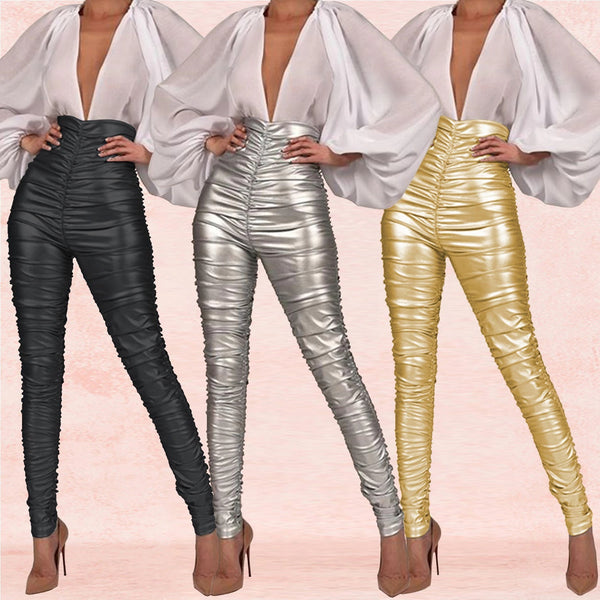 High Waist Pants Bodycon Silver Causal Pencil Pants CODE: KAR810