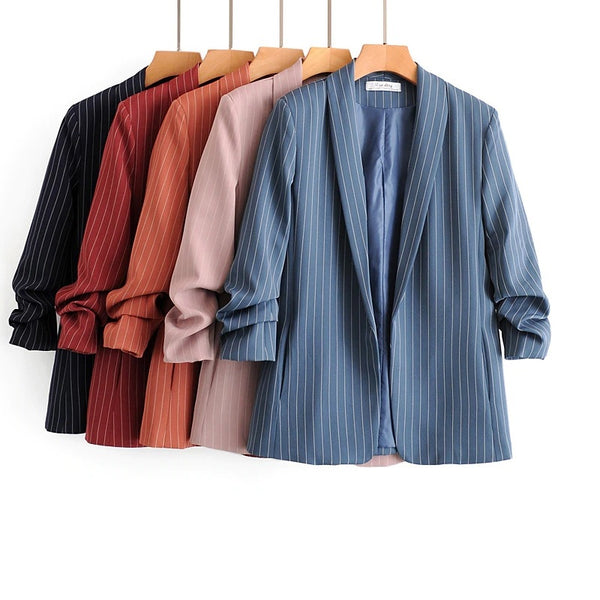 Blazer Striped Jacket Suit Bright Colors Leisure CODE: KAR812