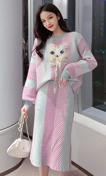 Cartoon Cat Sequin Bow Embroidery Loose Color Sweaters Striped Pencil Skirt Set CODE: KAR816