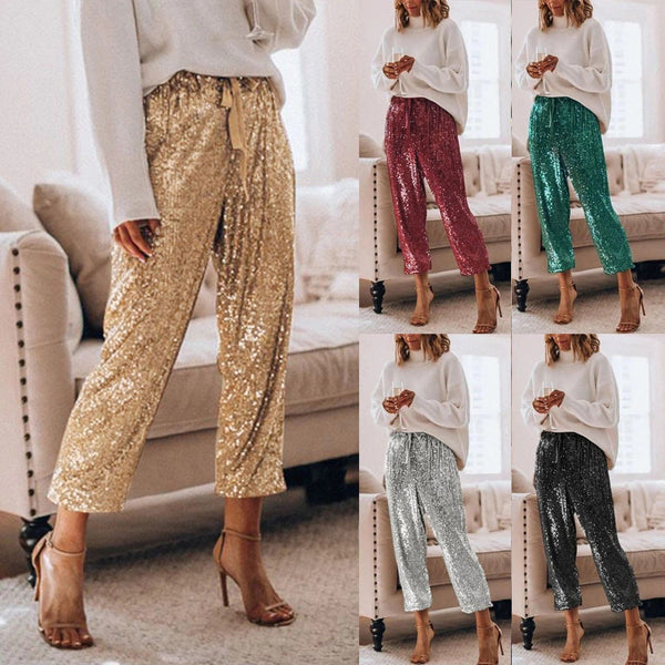 Gold Sequin Shiny Wide Beam Leg Pants  CODE: KAR846