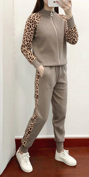 New knitted cardigan leopard coat two-piece sweater casual suit CODE: KAR849